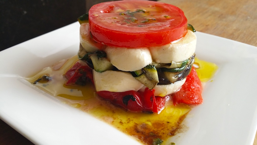 Basil vegetable stack